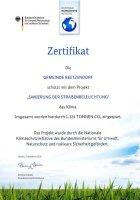 Zertifikat CO2 Einsparung für die Sanierung der Straßenbeleuchtung